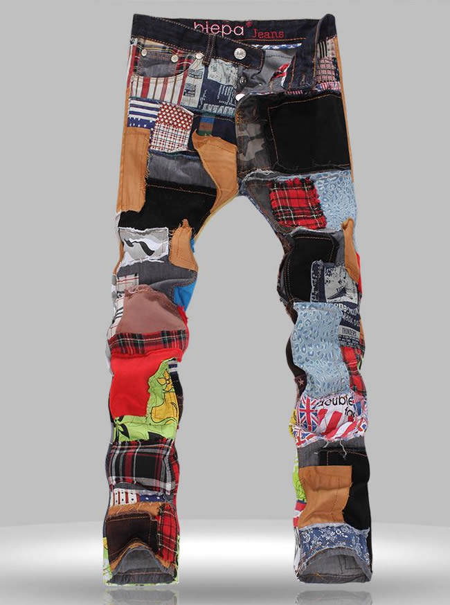 Hot sale Fashion colorful patchwork denim jeans new Straight long trousers hot sale cayler