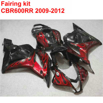 Injection ABS Fairing Kit For HONDA CBR600RR 2009-2012 Red Flames Black Motorcycle Fairings Set CBR 600 RR 09 10 11 12 SZ17