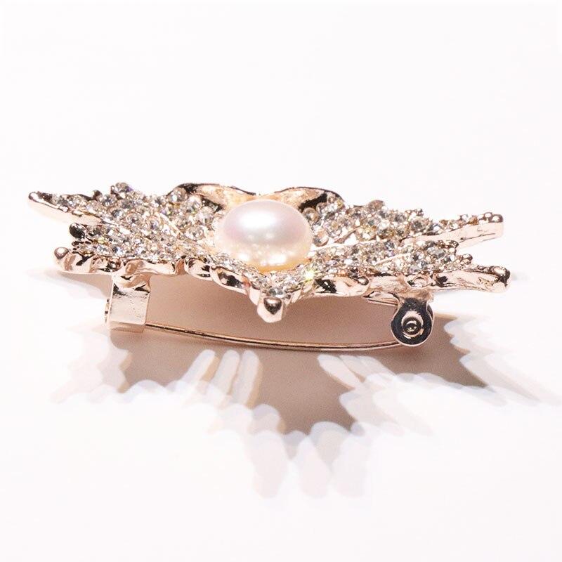 YIJIA Brooches Maple- ը թողնում է 3x5.5 սմ Rhinestone - Նուրբ զարդեր - Լուսանկար 4