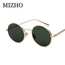 MIZHO UV Polarized Sunglasses Women Retro Round Glasses Yellow Lense Metal Frame Punk Coating Eyewear gafas de sol mujer