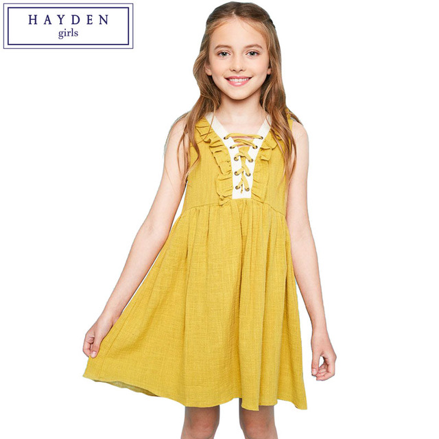 58f73aed4f4 HAYDEN Girls Ruffle Dress Kids Girl Summer Dresses New Arrivals 2017  Sleeveless Sundress Beach Boho Dress Size 7 to 14 Years