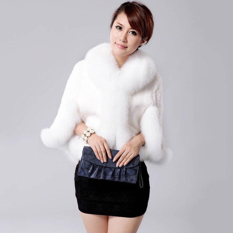 4 Mince Manteau White 2017 Ft408 Veste Court Mode Noir Manches Style Faux black Fourrure Blanc 3 Lapin De Imitation wSfFg