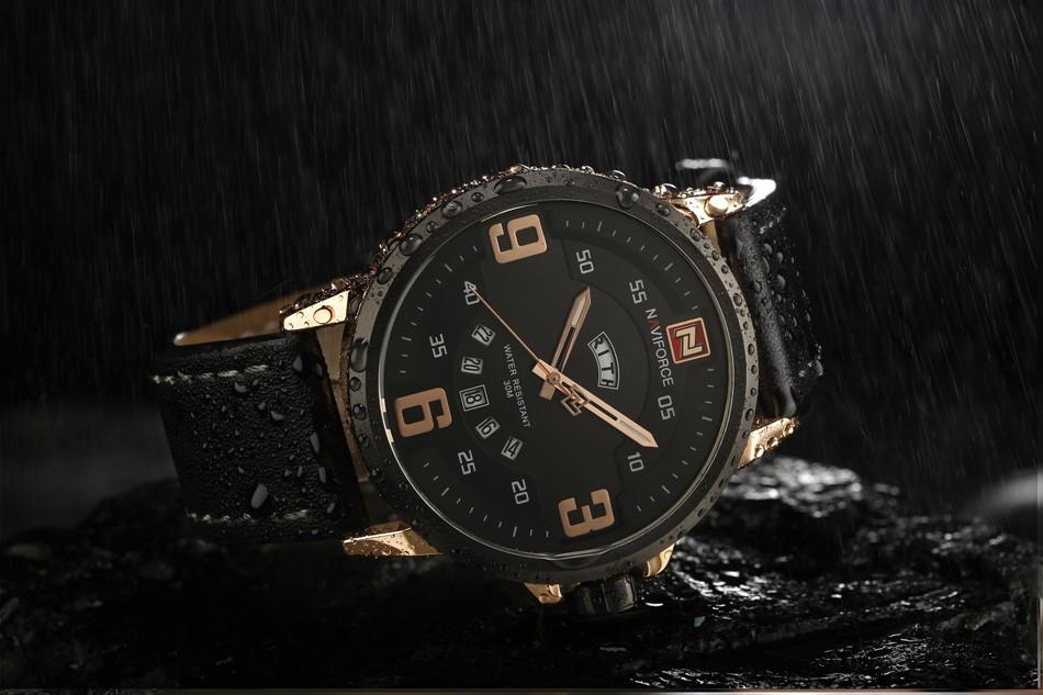 Naviforce NF9086 Men Fashion Quartz Watch Black Dial