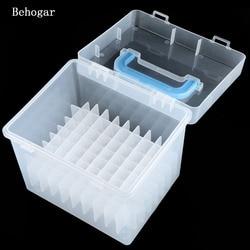 Behogar Transparent 80-Slots Waterproof Moistureproof Markers Pens Storage Box Case for Mark Pens Home office Desk Organizer