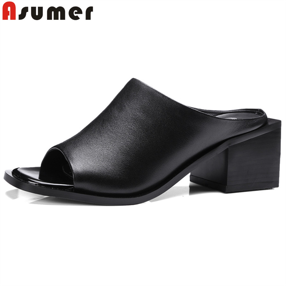 ASUMER black white fashion summer new shoes woman peep toe shallow sandals women square heel genuine leather high heels shoes asumer beige fashion summer shoes woman square toe shallow elegant sandals women genuine leather high heels shoes