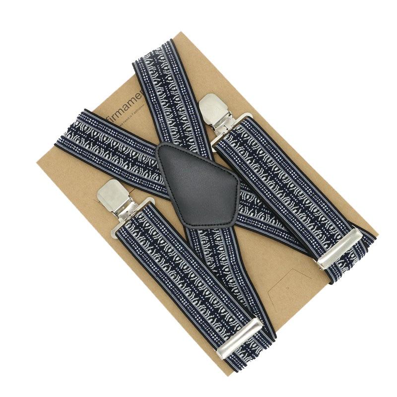 105*5cm X Back 4 Clip Adjustable Folk-custom Men Business Lattice Suspenders Trousers Braces Clip-on High Quality