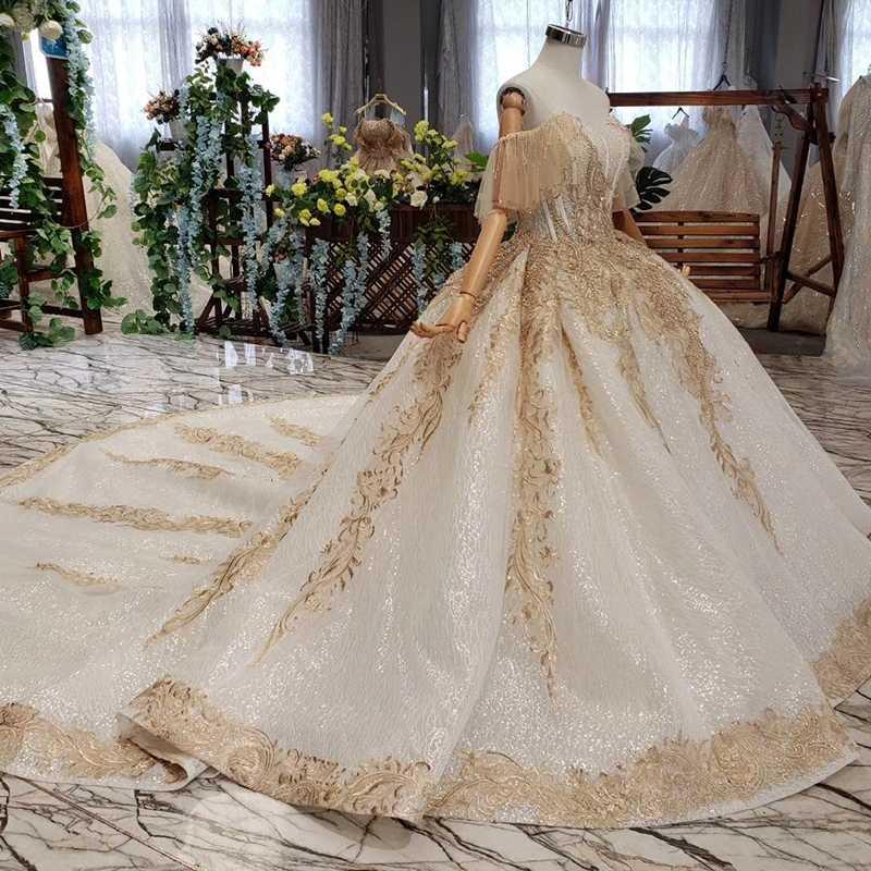 Htl535 fora do ombro vestido de casamento com trem querida champanhe renda vestido de noiva 2019 preço real vestido de noiva pluz tamanho