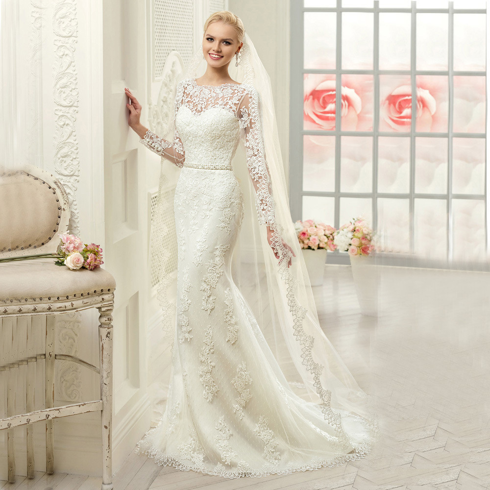Mermaid Wedding Dresses With Sleeves: Aliexpress.com : Buy W3135 Sheer Long Sleeves See Though