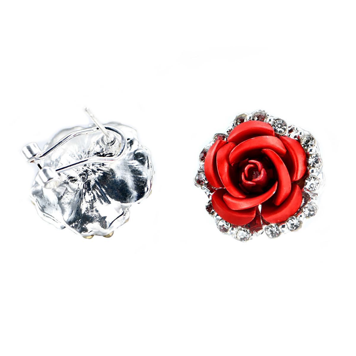 Fashion Rose Flower Female Women S Shaped Alloy Rhinestone Party Stud Earring 3 Color In Earrings From Jewelry Accessories On Aliexpress