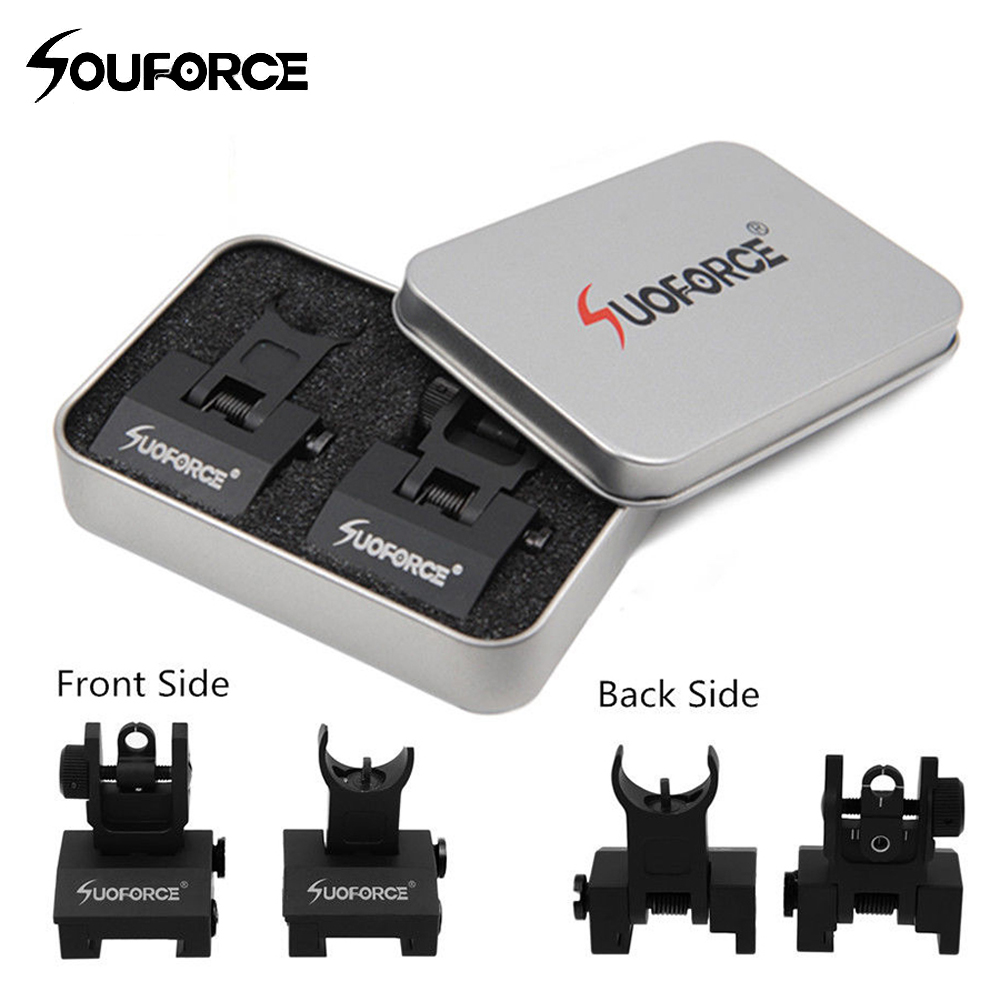 US Tactical Hunting Iron Low Flip Up Front & Rear Sight Set Folding Design Profile Quick Detach Rapid Transition Fit Most Rails