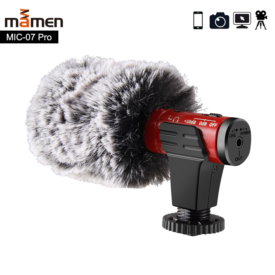 MAMEN 4 Color Video Record Microphone for DSLR Camera Smartphone Osmo Pocket Youtube Vlogging Mic for iPhone Android DSLR Gimbal image