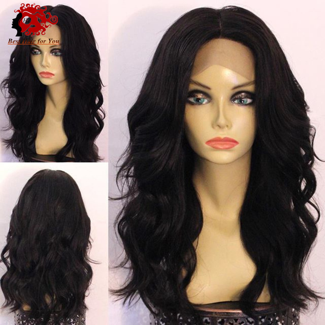 Medium Length Balck Natural Wavy Hair Style Glueless Lace Front Wigs