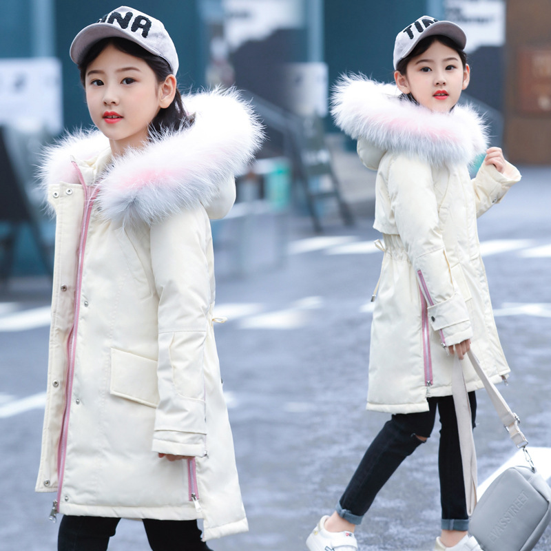 down jacket new Korean version of Zhongda children's medium long, thickened white duck's Hooded Winter Hat Girl's coat.