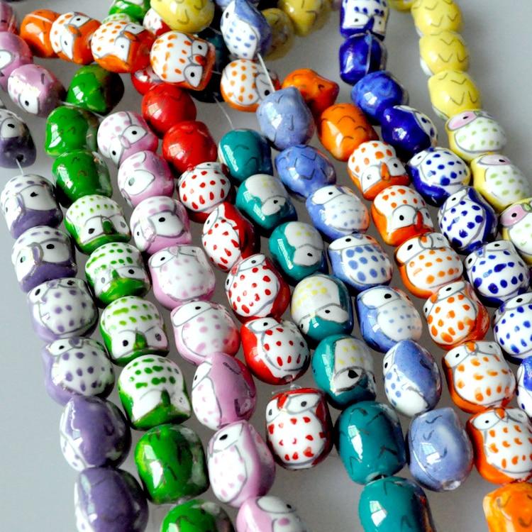 Ceramic Bead Beads: Free Shipping 20pcs Ceramic Animal Beads Owl Beads Ceramic