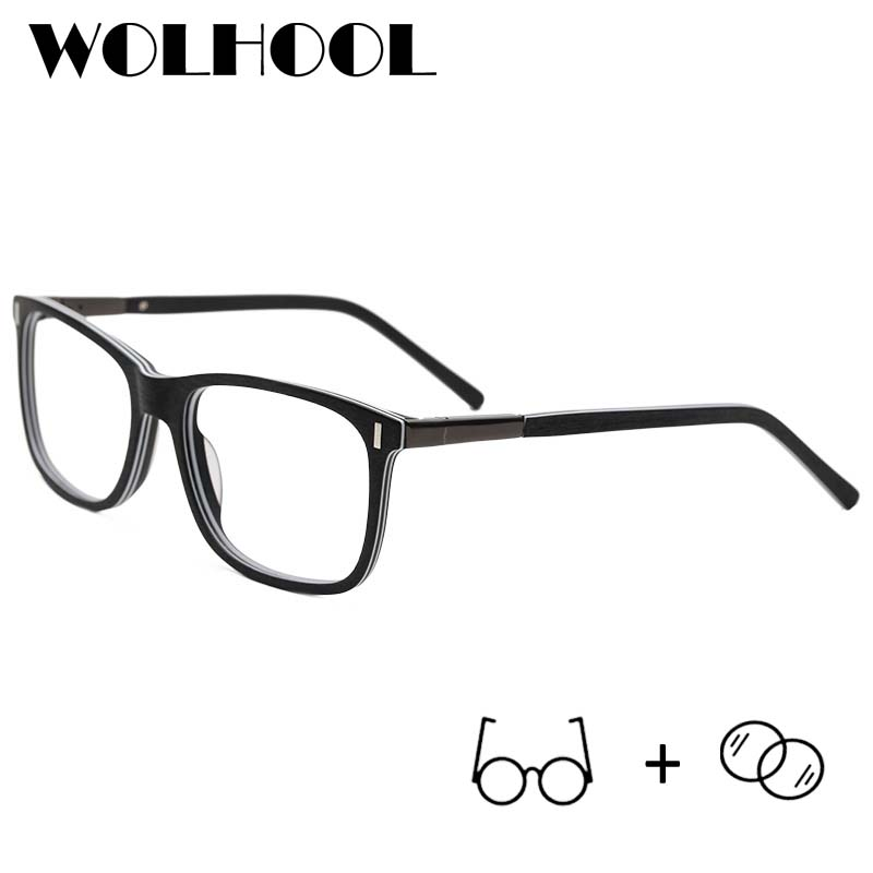 Prescription Glasses Myopia Progressive Blue Acetate Light-Blocking Square Men