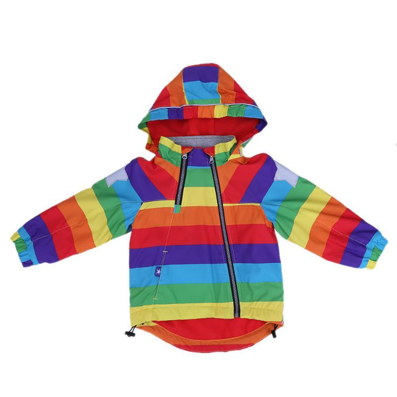 Обувь для мальчиков куртка для девочек Детская Куртки детские пальто осень ветровка верхняя одежда в радужную полоску с капюшоном зимняя к...