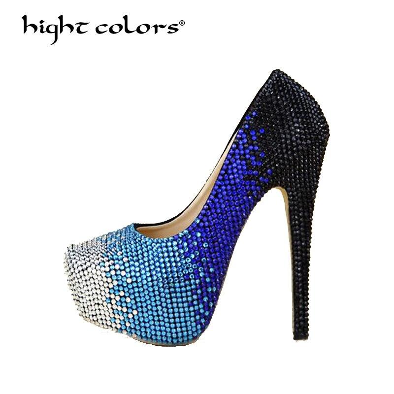 34 ~ 44 taille nouveau blanc argent mode 14 CM/11 cm/8 cm talons hauts femmes pompes talon Sexy chaussures de mariage strass chaussures de fête H-998