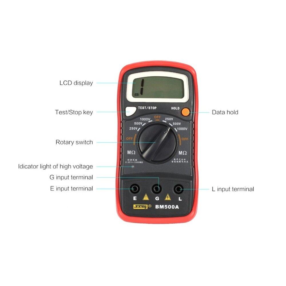 BM500A numérique Megger 1000 V gamme automatique isolation résistance ohm mètre testeur megohmmètre multimètre voltmètre LED indication