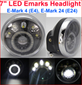 "Universal Emark Chrome round Side-mount 7"" LED Headlight CB250/400/750/900"