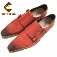 Sipriks Italian Handmade Goodyear Welted Shoes For Men Double Monk Strap Shoes Red Brown Formal Tuxedo Shoes Suits Mens Shoes