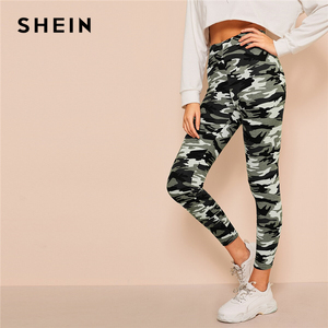 Image 5 - SHEIN Camo Print Leggings Women Leggings 2019 Casual Style Spring Summer Autumn Stretchy Fitness Crop Leggings