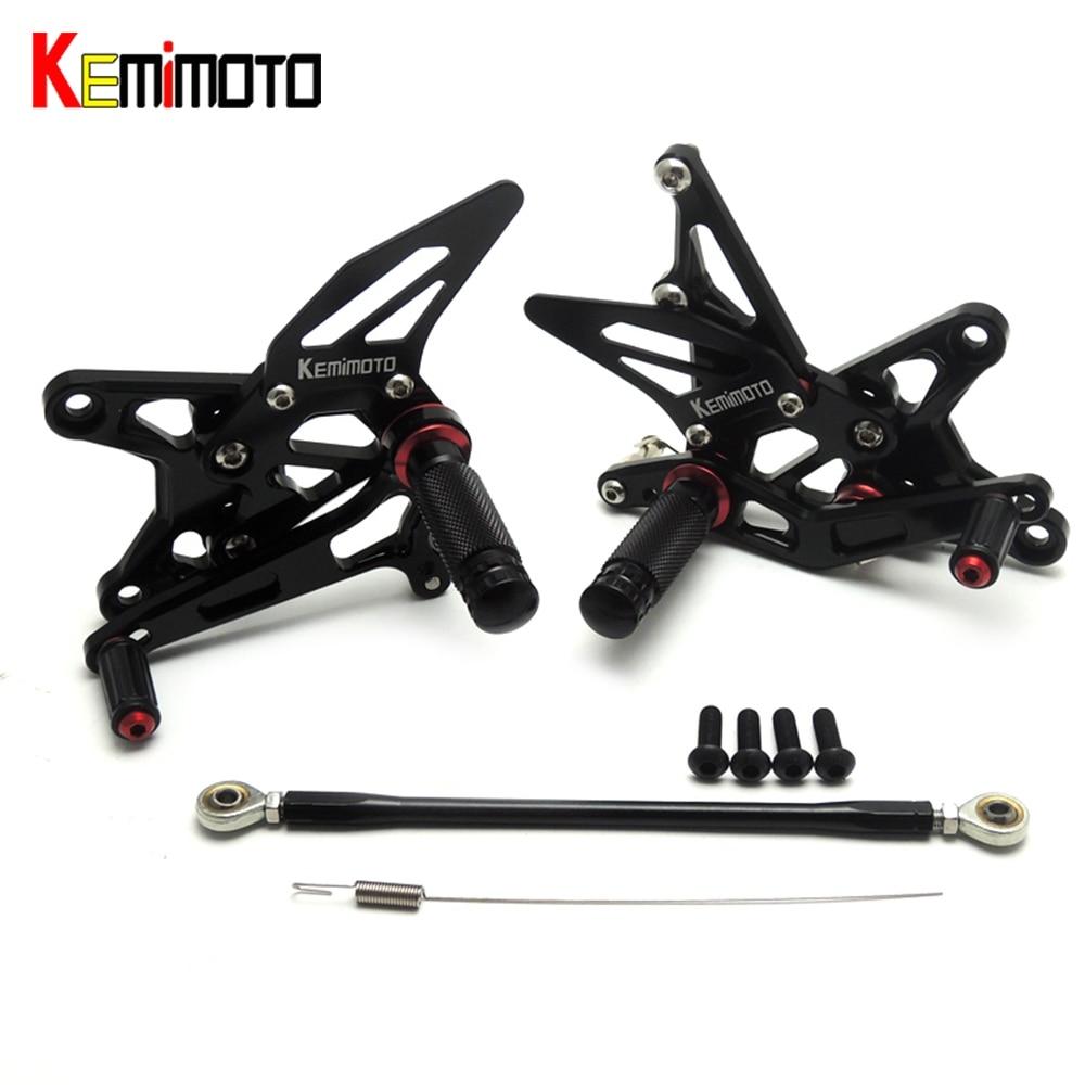 KEMiMOTO Adjustable Rear Set Footrest For Kawasaki ZX-6R 2009 2010 2011 2012 2013 014 ZX 6R ZX6R Rearsets 7075 Aluminum 330 6r