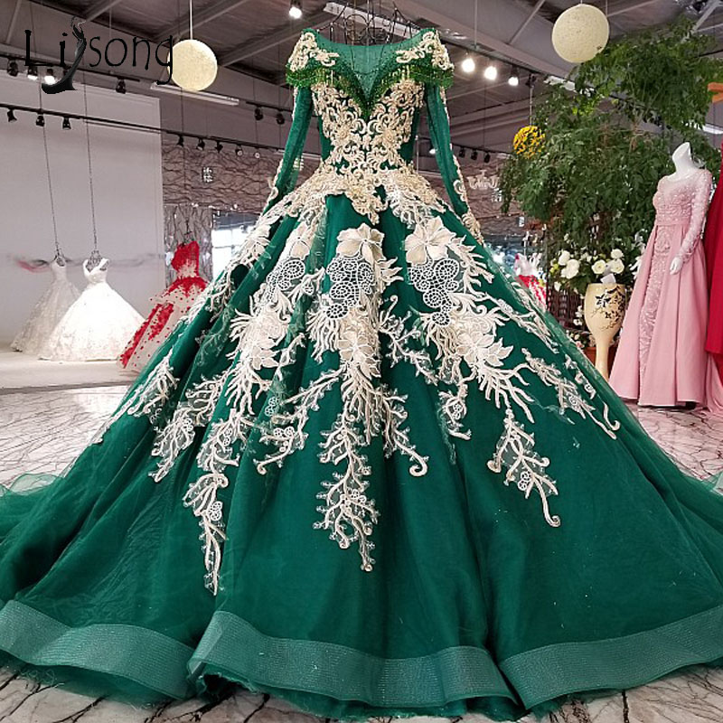 Dubai Green Beaded Muslim Wedding Dresses With Full