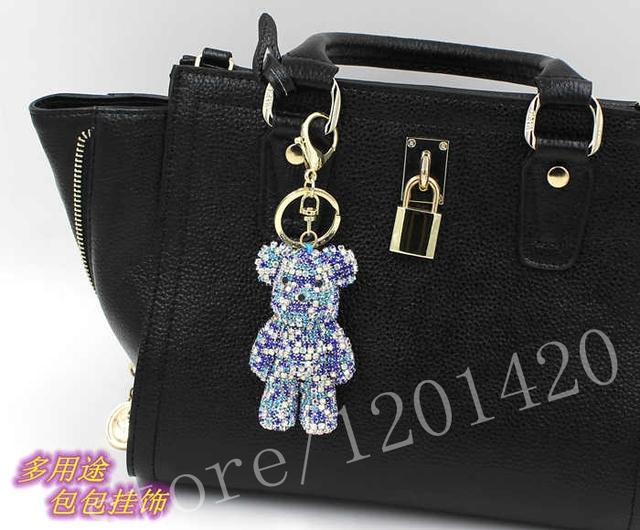 Cristal de Color azul oso hechos a mano llaveros llavero único del encanto del bolso llaveros sostenedor del anillo Souvenir mujeres del bolso de la joyería