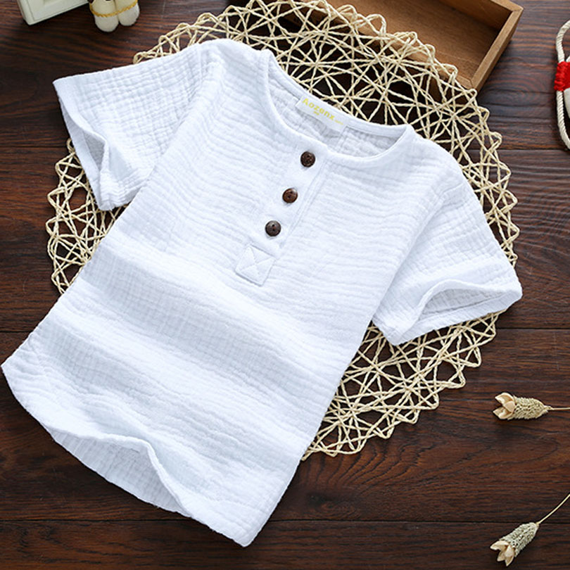 Linen 2019 Cotton Baby Boy Girl Summer T Shirts New Toddler Comfortable Tops Tee Children Clothing Kids Button 90 140CM Height in T Shirts from Mother Kids