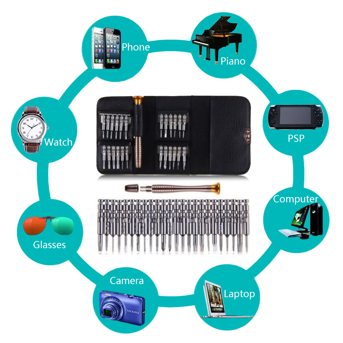 Screwdriver Wallet Kit 25 in 1 Repair Tools Screwdriver Set Precision Screwdriver Hand Tool Sets for PC Camera Watch Opening