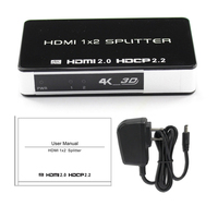3D 4K HDMI 2.0 Splitter 1x2 HDCP 2.2 1 in 2 Out Repeater Switch Box Video Converter 4kx2k For PS3 XBOX PC DVD HDTV TV Projector