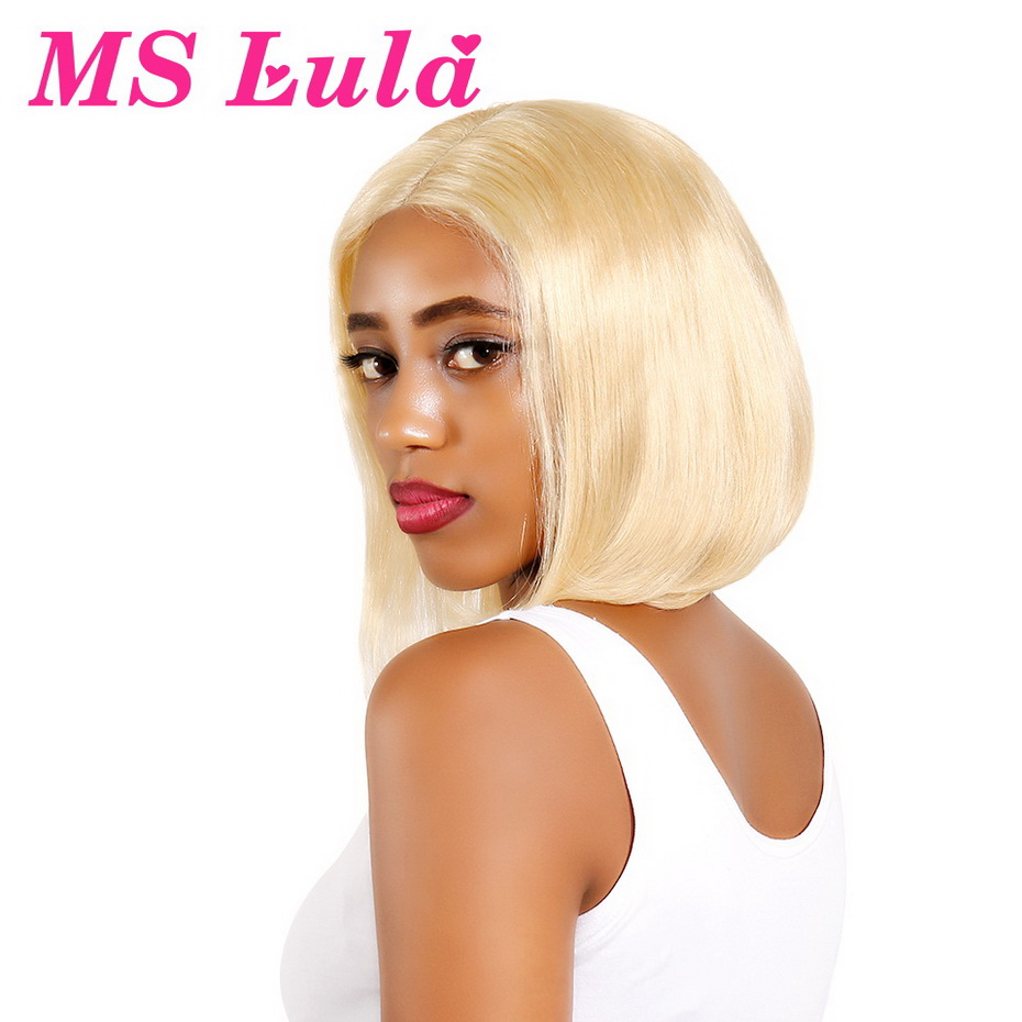 MS Lula 613 Pink Yellow Blue Red Lace Front Wig Brazilian Straight Hair Human Hair Short
