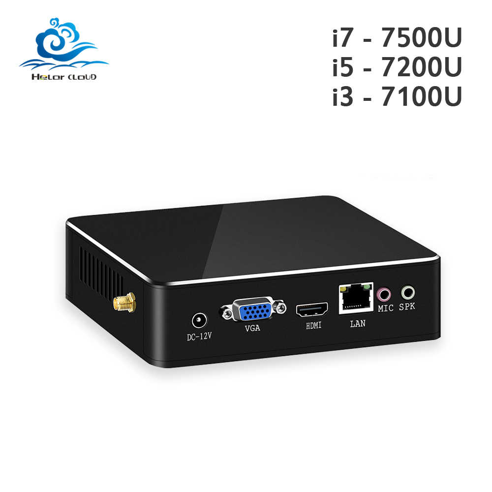 HLY Mini PC Intel Core I7 7500U i5 7200U i3 7100U 4 K HD DDR3 RAM Windows 10 WIFI HDMI chơi game i3 i5 i7 Máy Tính