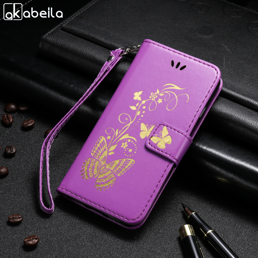AKABEILA Butterfly PU Leather Phone Cases For Huawei Honor Bee Y541 Y5C Y541-U02 4.5 inch Covers Card Holder Housings Bag Shield
