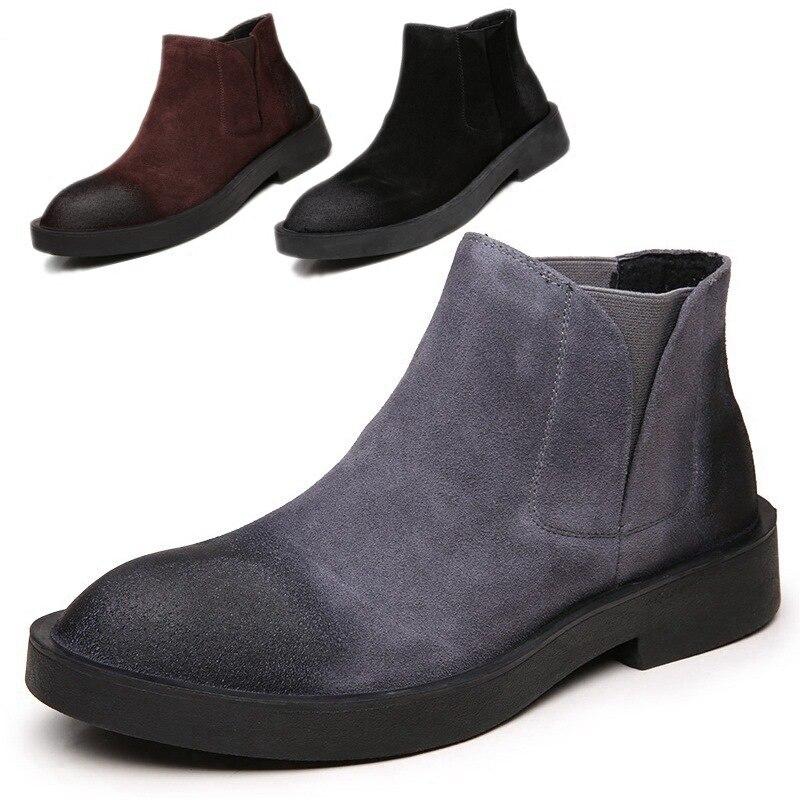 Autumn Martin boots  British retro high-top  winter plus cashmere short boots desert boots casual shoes