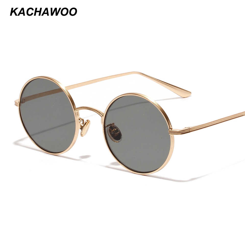 450f519ab5aaf Kachawoo small round sunglasses women gold metal frame yellow red circle  sun glasses men retro eyeglasses