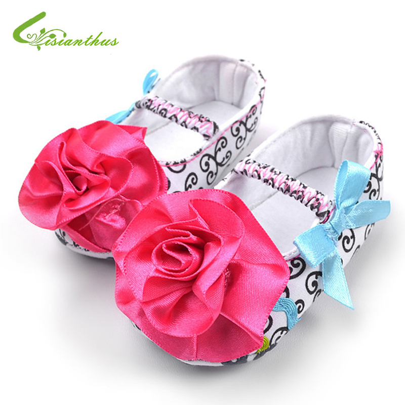 Baby Girl Rose Flower Princess Shoes Toddlers Fashion Soft Sole First Walkers Infant Girl Spring Summer Shoes Drop Free Shipping