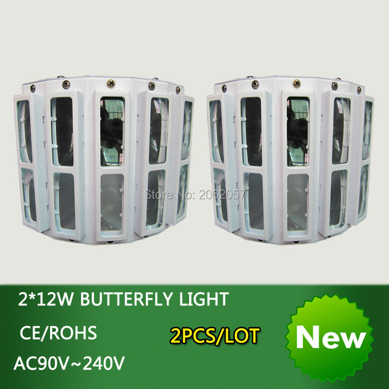 2pcs/lot new arrive 2*12W LED RGBW butterfly light disco dj dmx professional stage effect lighting projector for Christmas party 2pcs dj disco par led 54x3w stage light dmx strobe flat luces discoteca party lights laser rgbw luz de projector lumiere control