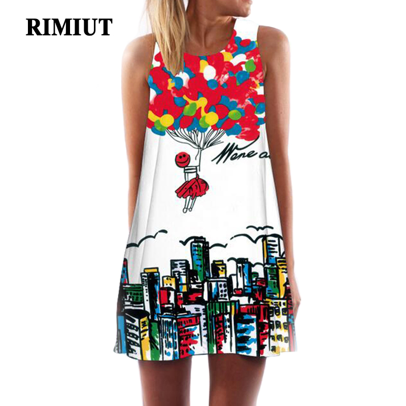 RIMIUT 2017 Digital Printing Multi-Element Sleeveless Loose Dress Casual Women Summer Beach Mini Dresses Plus Size S - 2XL dress