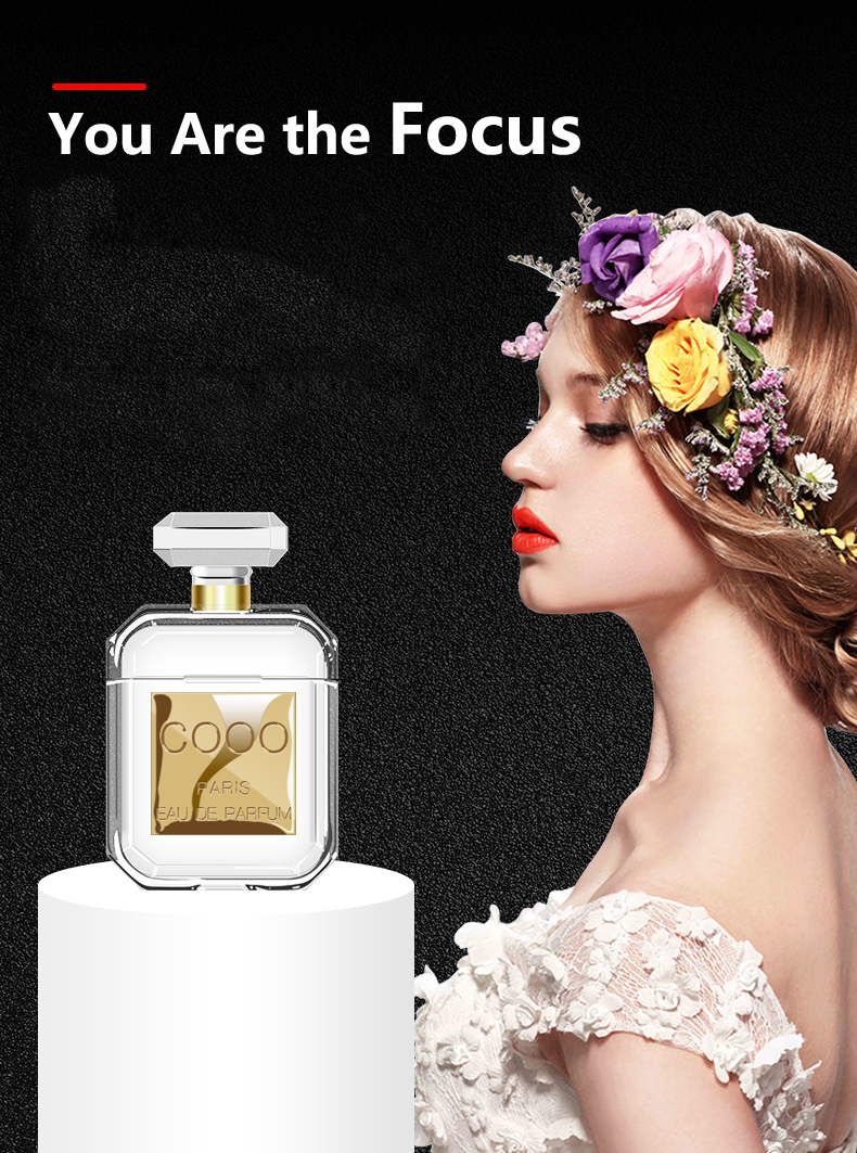 Lovers Gift Coco Perfume bottle airpods Case shockproof Transparent airpods Cover earphone case bag for apple airpods keyring