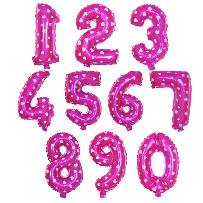 0 9 Numbers Rose Red Heart Print Number Foil Balloons