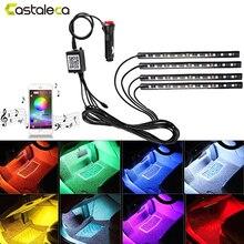 Castaleca автомобиля Светодиодные ленты Авто Интерьер RGB Атмосфера лампы Bluetooth Управление Лер голос музыка Управление комплект 12 В автомобиля стиль