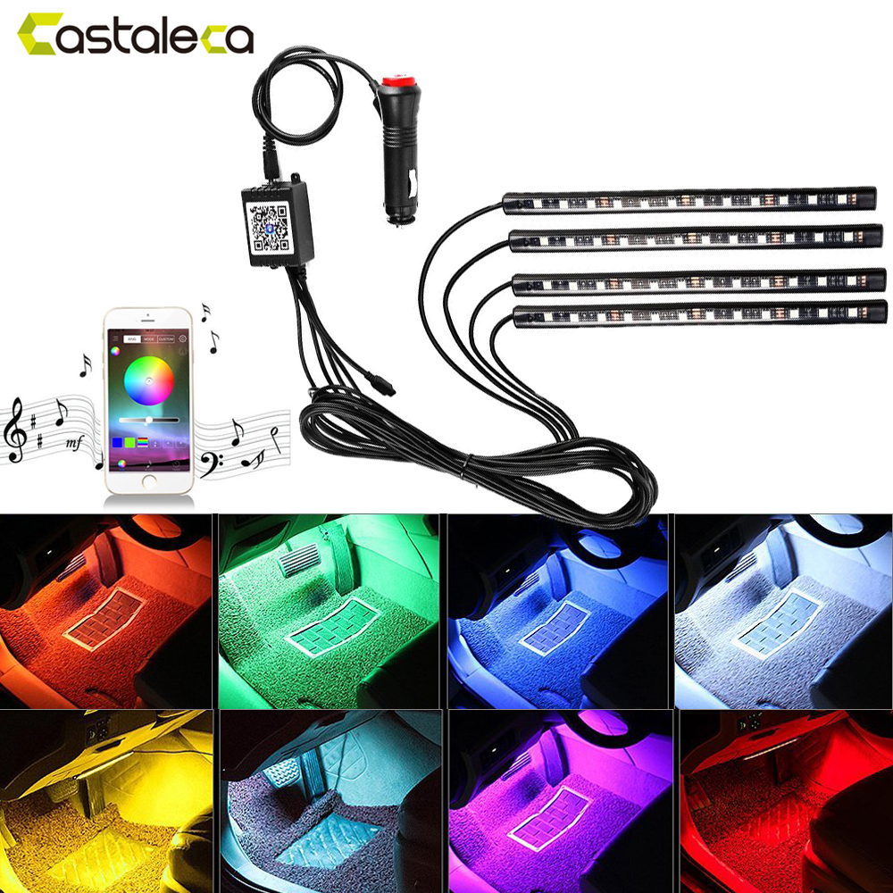 castaleca Car LED Strip Lights Auto Interior RGB Atmosphere lamp Bluetooth Controller Voice Music Control kit 12V car-styling yijinsheng 4x12 led 7 colors car atmosphere lights decoration lamp 12v auto interior lights glow decorative cigarette lighter