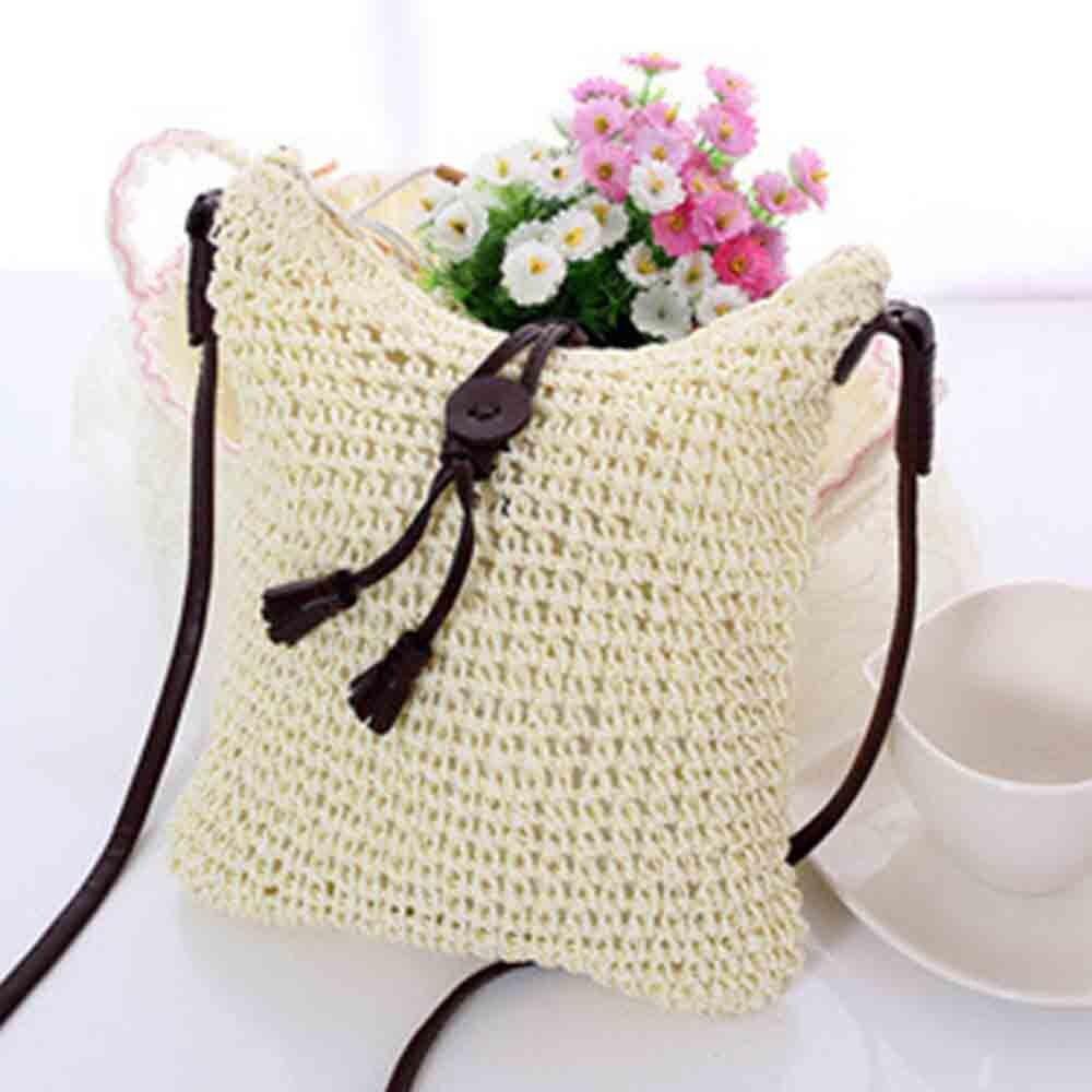 Boho Style Small Straw Bag Summer Handmade New Fashion Braid Shoulder Cross Body Bag Elegant Ladies Women Beach Bag