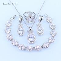 L B Australia White Crystal Silver Color Jewelry Set For Women Zircon Bracelet Necklace Pendant Earrings