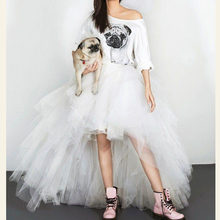 9006552cfc Vuelos de tul Tutu longitud Hola baja lindo mujer falda de tul para la boda  en Saias Longa