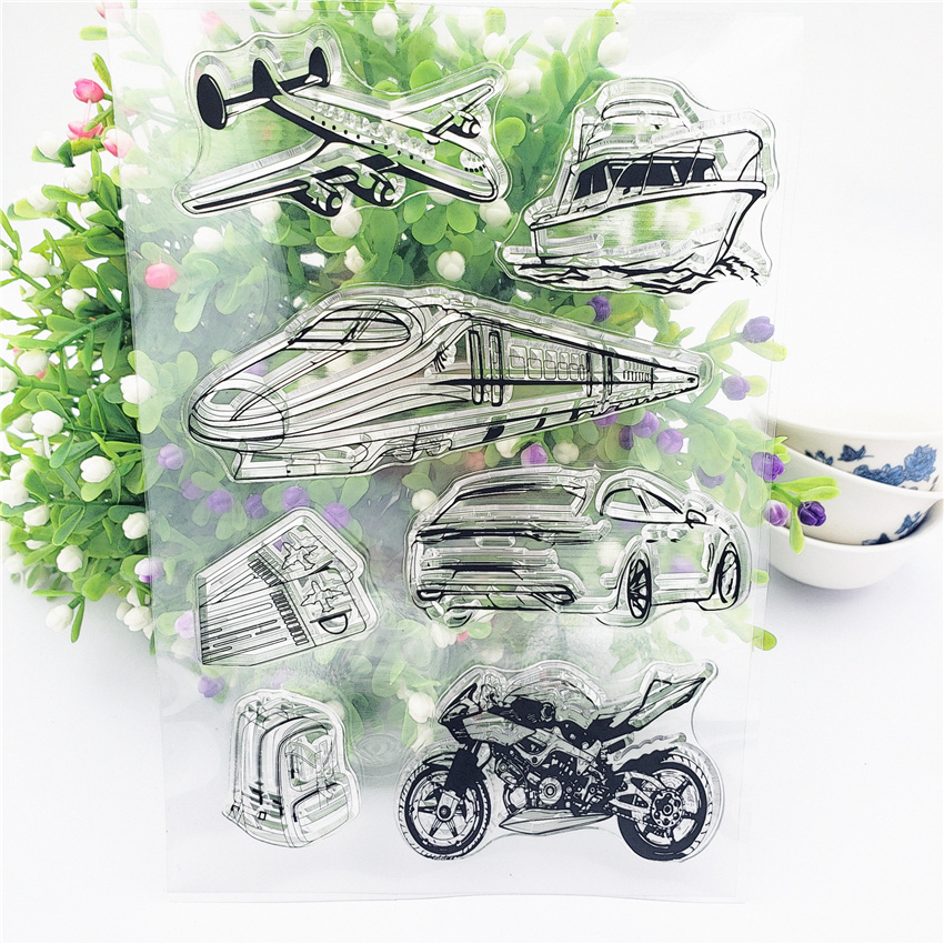 JC Clear Stamps for Scrapbooking Aircraft Train Silicone Seals Craft Stencil Album Rubber Stamp Handmade Paper Card Making Sheet in Stamps from Home Garden