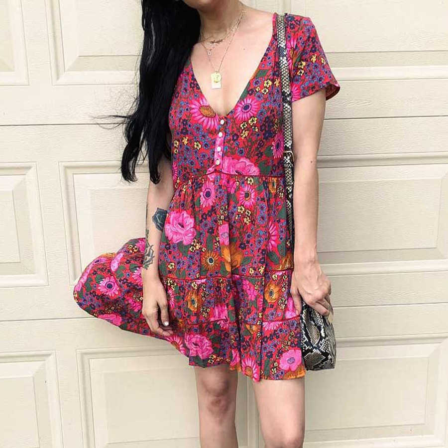b659ae8179e7a TEELYNN mini Dress sexy v-Neck short Dresses 2019 red floral print beach  wear summer dresses Gypsy boho dress for women vestido