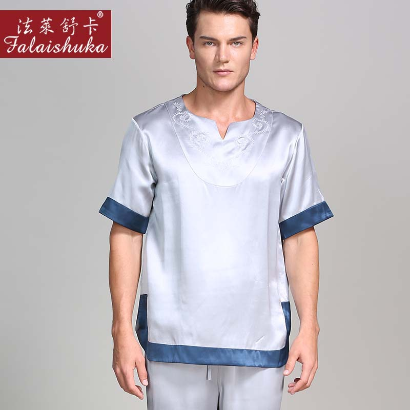 100% Genuine Silk Pajamas Sets Mens Summer Short Sleeves Trousers Chinese Style Elegant Blue Mens Sleepwear Pijamas Hombre