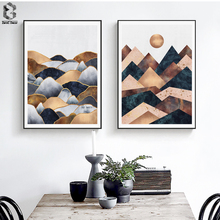 Nordic Canvas Posters And Prints Wall Art Geometric Sunrise Painting Pictures for Home Decoration, Marble Decor